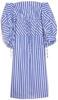 Rosie Assoulin Balloon Sleeve Cocktail Dress in Blue Stripe