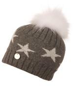 Popski London Charcoal Starry Hat With White Pom Pom