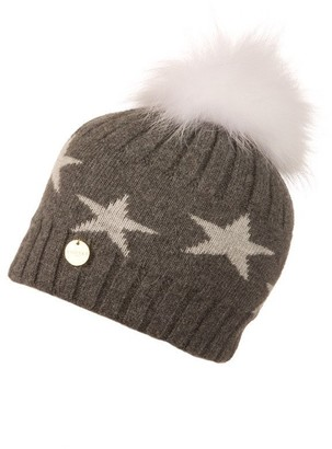 Popski London Charcoal Starry Hat With White Pom Pom