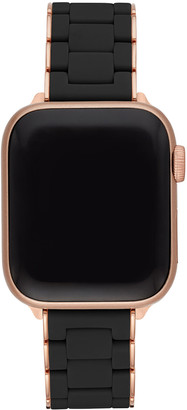 Michele 38/40mm Black and Pink Gold-Tone Silicone-Wrap Bracelet Band for Apple Watch