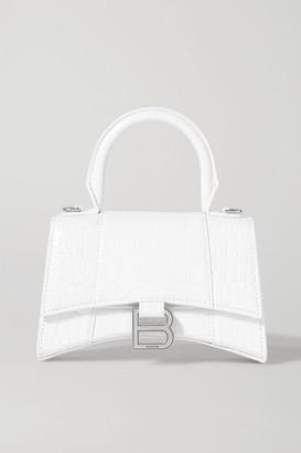 Balenciaga Hourglass Mini Croc-effect Leather Tote - White
