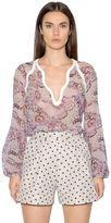Giambattista Valli Printed Silk Georgette & Crepe Shirt