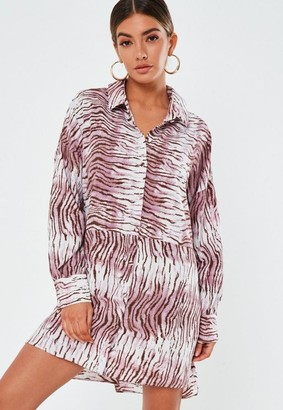 Missguided Zebra Print Oversized Dip Back Shirt Dress
