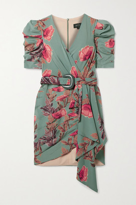 PatBO Belted Wrap-effect Pleated Floral-print Crepe Mini Dress - Teal