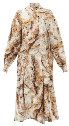 Petar Petrov Andrea Fox Fur-print Pussy-bow Silk-twill Dress - Gold