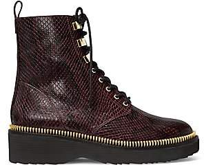MICHAEL Michael Kors Women's Haskell Snakeskin-Embossed Leather Combat Boots