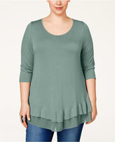 American Rag Trendy Plus Size Chiffon-Hem Tunic, Only at Macy's