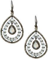 Bavna Rainbow Moonstone & Diamond Teardrop Earrings