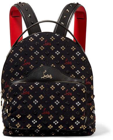 Christian Louboutin Backloubi Leather-trimmed Studded Canvas-jacquard Backpack - Black