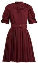Emilia Wickstead Corinne Pleated Crepe Mini Dress - Womens - Burgundy