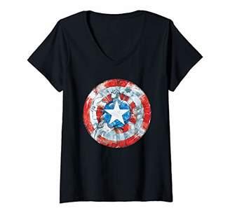 Marvel Womens Captain America Shield V-Neck T-Shirt