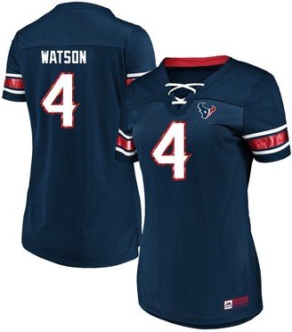 Majestic Women's Deshaun Watson Navy Houston Texans Draft Him Fashion Name & Number T-Shirt