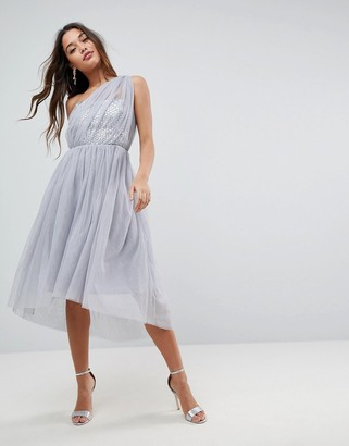 Asos Design ASOS PREMIUM Crystal Bodice Tulle One Shoulder Midi Prom Dress