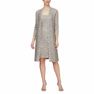 Alex Evenings Women's Long Jacket with Lace Dress (Petite and Regular Sizes)