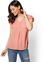 New York & Co. Soho Soft Shirt - Hi-Lo Split-Neck Blouse