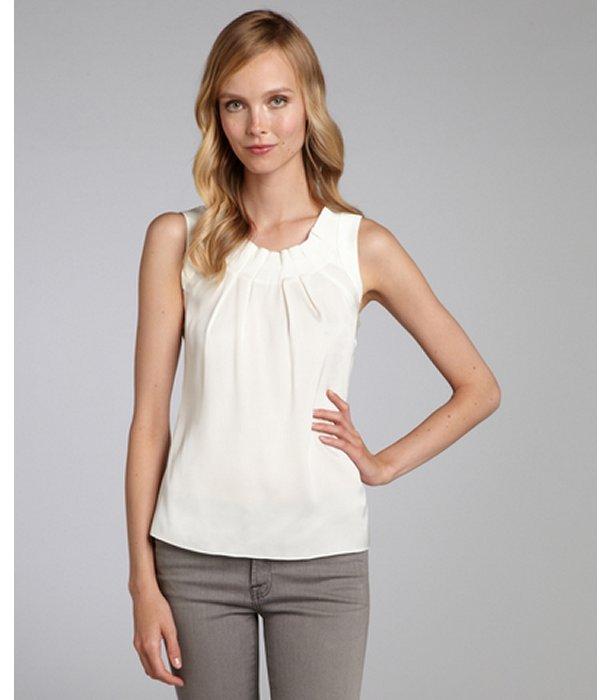 Elie Tahari off white pleated stretch silk 'Winona' sleeveless blouse
