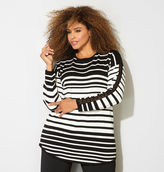 Avenue Variegated Stripe Pullover with Crochet Sleeve