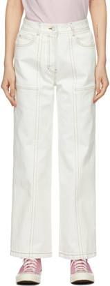 Sjyp White Stitch Point Jeans