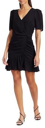 Parker Krislyn Ruffled Silk Mini A-Line Dress