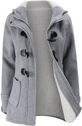 Elonglin Womens Duffle Coat Coton Fleece Trench Coat Winter Casual Hooded Horn Buttons Peacoat with Villi Lining Pockets Fashion Thick Toggle Coat Snowsuit Outerwear Hoodie Warm Size UK L Grey