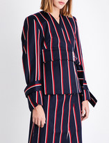 SOLACE London Alizze stiped wool and cotton-blend jacket