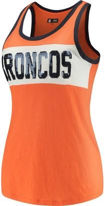 New Era Women's 5th & Ocean by Orange/White Denver Broncos Sequin Baby Jersey Tank Top