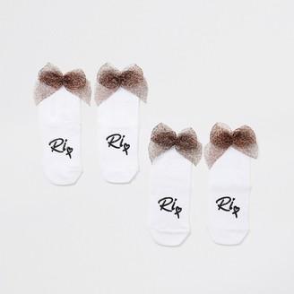 River Island Mini girls white leopard bow back sock 2 pack