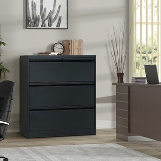 Anfisa 3-Drawer Lateral Filing Cabinet Latitude Run Color: Black