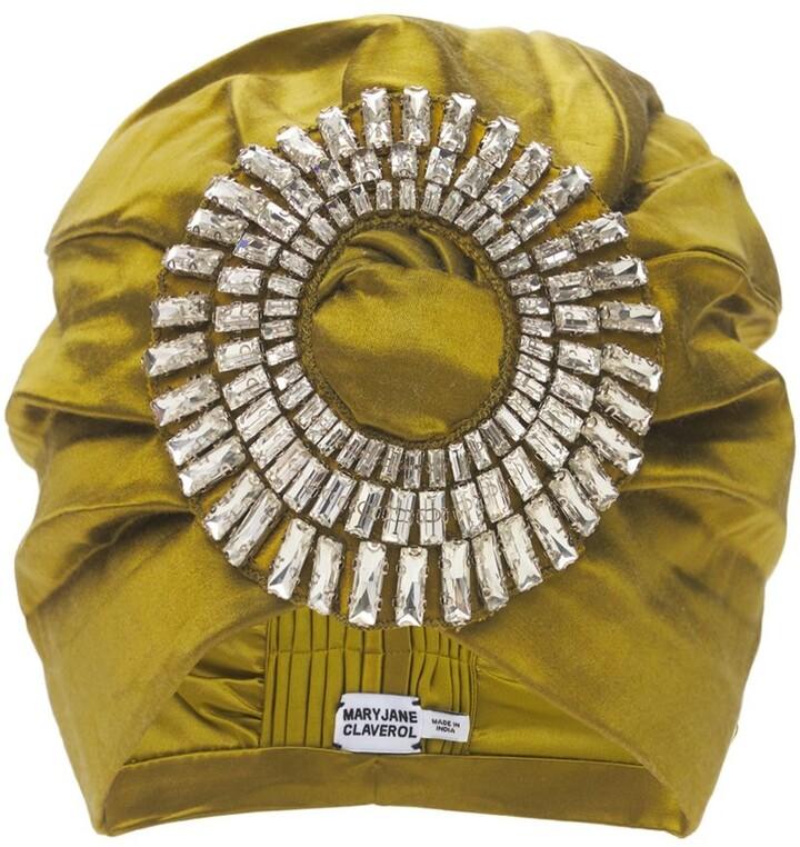 MaryJane Claverol Playera Crystal Embellished Satin Turban