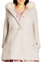City Chic Plus Size Women's 'Winter Warm' Faux Fur Trim Duffle Coat