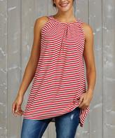 Simple By Suzanne Betro Simple by Suzanne Betro Women's Tunics 105RED/white - Red & White Stripe Gathered-Neck Tank - Women & Plus