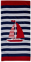 Sea Boat with Stripes Terry Velour Beach Towel