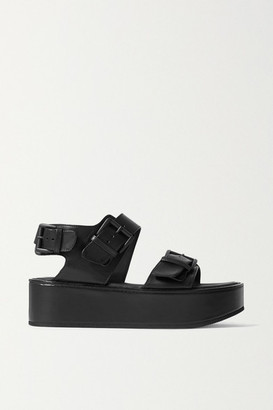 Ann Demeulemeester Leather Platform Sandals - Black