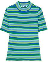 Sjyp Striped Ribbed Cotton-blend T-shirt
