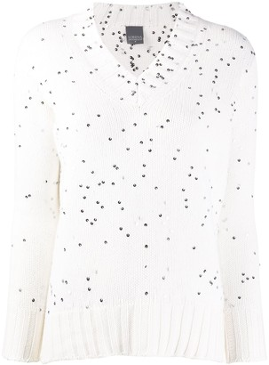 Lorena Antoniazzi sequinned V-neck jumper