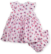 Armani Junior Sleeveless Smocked Floral Watercolor Dress w/ Bloomers, Multicolor, Size 6-24 Months