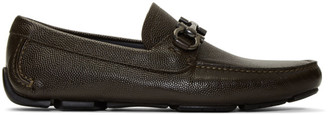 Salvatore Ferragamo Brown Gancini Driver Moccasin Loafers