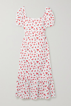 HVN Fromer Printed Cotton-blend Poplin Midi Dress - White