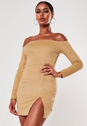 Missguided Mocha Faux Suede Side Split Bardot Mini Dress