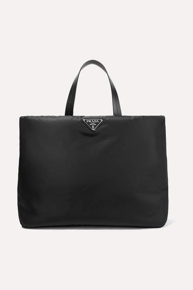 7e3c40466b Leather-trimmed Nylon Tote - Black