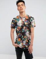 Criminal Damage T-shirt In Black With Floral Print