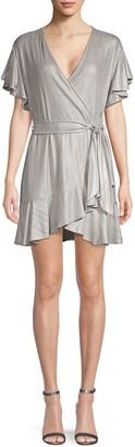 BB Dakota Moon Dance Flutter-Sleeve Wrap Dress