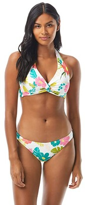 Kate Spade Tropical Floral Knotted Halter Bikini Top w/ Removable Soft Cups (White) Women's Swimwear