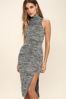 LuLu*s Stay A While Charcoal Grey Bodycon Midi Dress