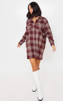 PrettyLittleThing Burgundy Check Print Pocket Detail Oversized Shirt Dress