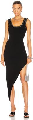 Alexander Wang Diagonal Hem Ribbed Chain Tank Dress in Black | FWRD