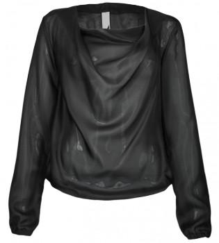 Format LIZZ Black Silk Long Sleeve Top - M - Black