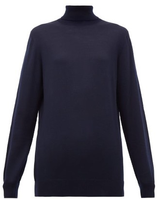 Hillier Bartley Roll-neck Merino Wool Sweater - Navy