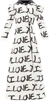 Rodarte I Love You-applique Cotton-blend Longline Coat - Black White