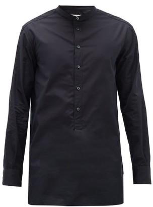 The Row Ringo Cotton-poplin Henley Shirt - Dark Navy